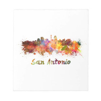 Bloc-note San Antonio skyline in watercolor