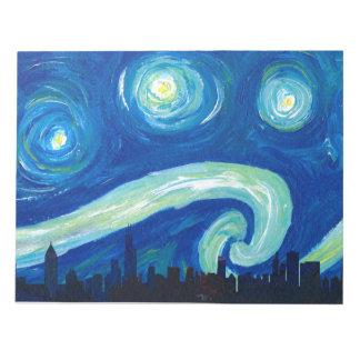Bloc-note Silhouette d'horizon de Chicago la nuit étoilé