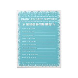 Bloc-note Souhaits pour le baby shower de Papel Picado de