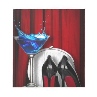 Bloc-note stilletos de fille de cocktail de martini de