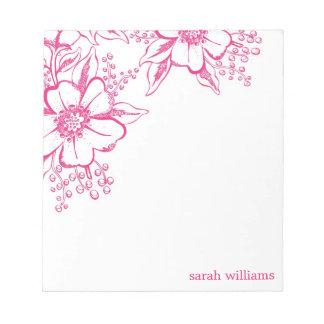 Bloc-note Style élégant rose d'impression typographique flor