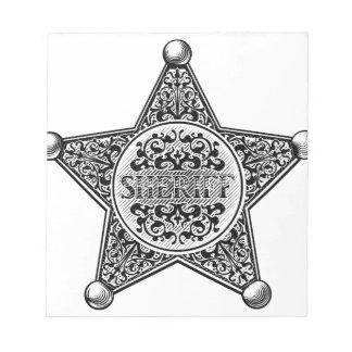 Bloc-note Style gravé par insigne d'étoile de shérif