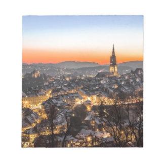 Bloc-note temps de Noël de vue de ville de Berne