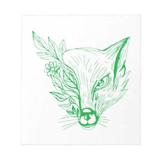 Bloc-note Tête de Fox avec le dessin de fleur et de feuille