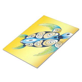 Bloc-note Tortue de mer sur le jaune