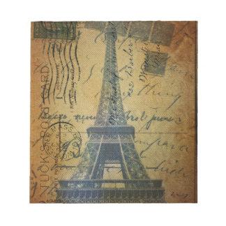 Bloc-note Tour Eiffel vintage de Paris de manuscrits chics