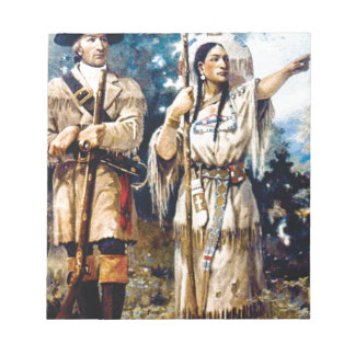 Bloc-note trappeur et femme indienne