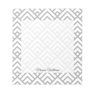 Bloc-note Triangles géométriques modernes de blanc gris de