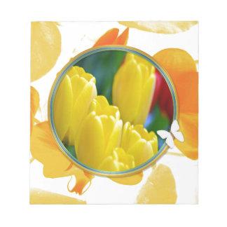 Bloc-note Tulipes jaunes dans le cadre rond coloré
