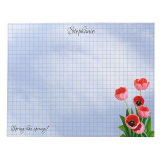 Bloc-note Tulipes roses, grille géométrique de photographie