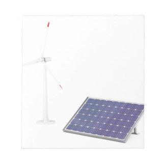Bloc-note Turbine de vent et panneau solaire