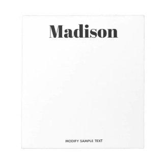 Bloc-note Typographie blanche noire moderne simple