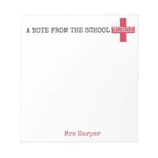 Bloc-note Une note de l'infirmière d'école personnalisée