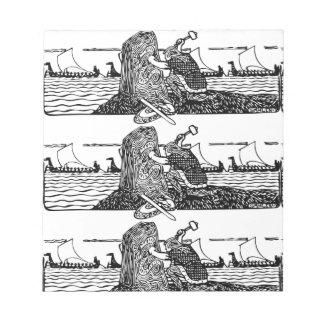 Bloc-note Viking découpant des runes