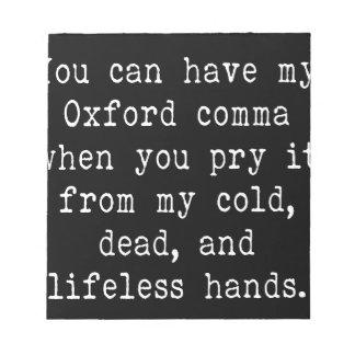 Bloc-note Virgule d'Oxford
