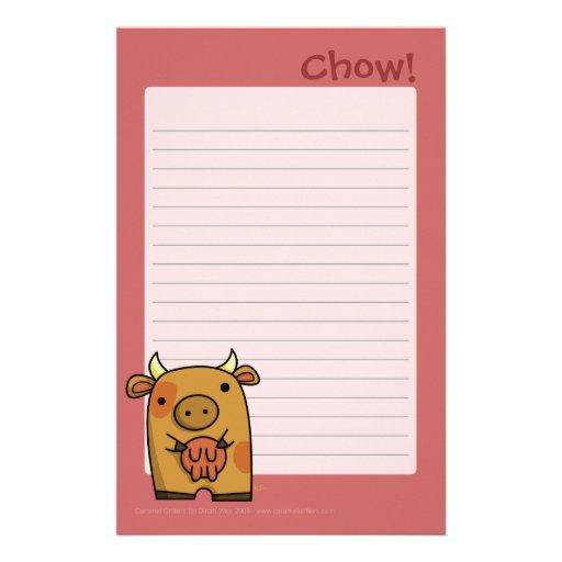 Bloc - notes de bouffe papier à lettre personnalisable