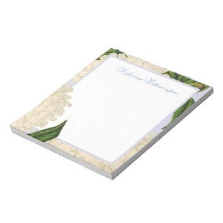 Bloc - notes personnalisé par hortensia blanc bloc-note
