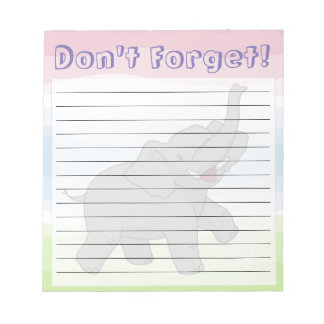 Bloc - notes rayé personnalisable d'éléphant bloc-note
