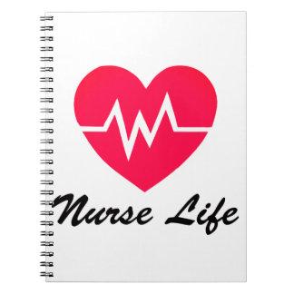 Bloc - notes rouge de coeur de la vie ECG Carnets À Spirale