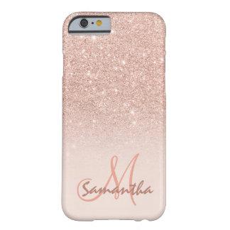 Bloc rose élégant de rose d'ombre d'or coque iPhone 6 barely there