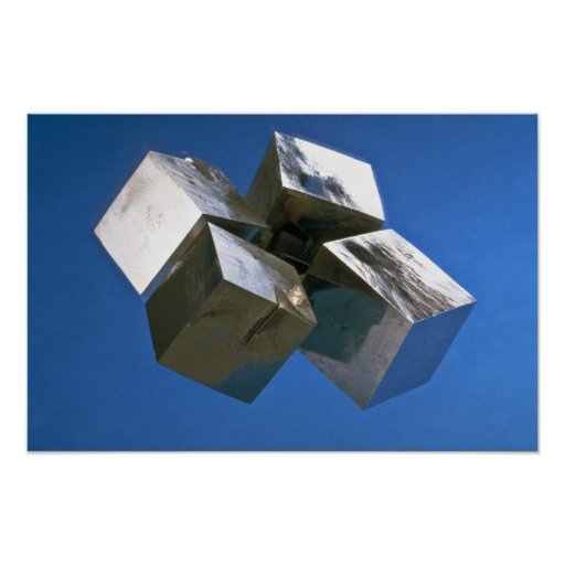 Blocs brillants de minerai de pyrite de roche affiches