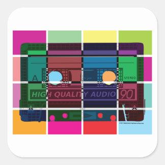blocs de couleur de cassette des années 80 sticker carré