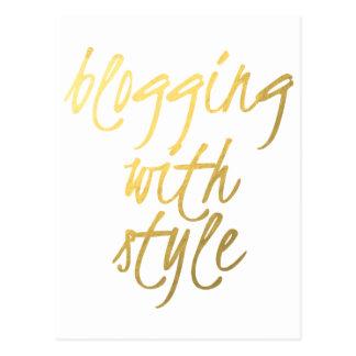 Blogging avec le style - manuscrit d'or carte postale
