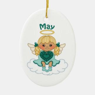 Blonde d'ange de pierre porte-bonheur de mai ornement ovale en céramique