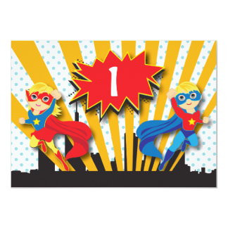 Blonde de l'anniversaire | de super héros de carton d'invitation  12,7 cm x 17,78 cm