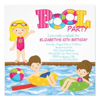 Blonde Girl Birthday Summer Pool Party Invitation