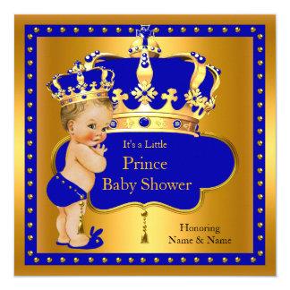 Blonde royale de couronne de garçon bleu de prince carton d'invitation  13,33 cm