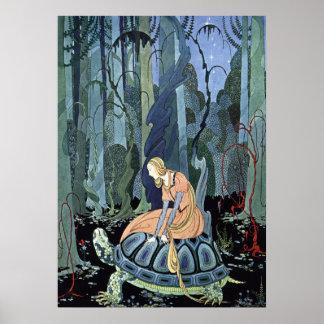 Blondine et la tortue par la Virginie Sterrett Poster