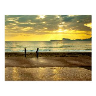 Blue and yellow seaside landscape carte postale