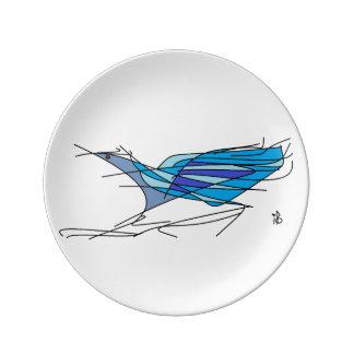 blue bird assiette en porcelaine