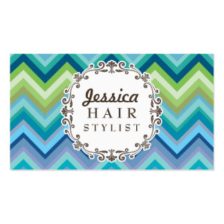 Blue Chevron Pattern Hair Stylist Business Cards