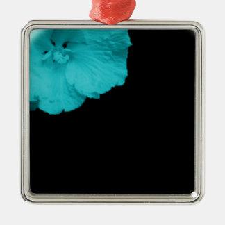 blue flower button ornement carré argenté