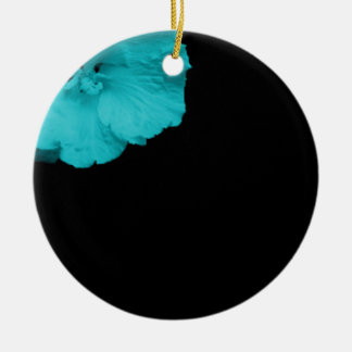 blue flower button ornement rond en céramique