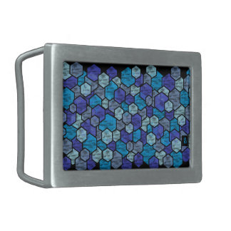 blue glass boucles de ceinture rectangulaires
