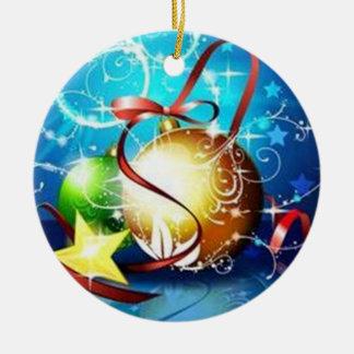 Blue graphics for Christmas - Ornement Rond En Céramique