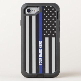 Blue Line mince - coutume personnalisée de drapeau Coque Otterbox Defender Pour iPhone 7