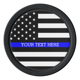 Blue Line mince - coutume personnalisée de drapeau Rouleau De Jetons De Poker