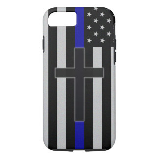 Blue Line mince croisent Coque iPhone 7