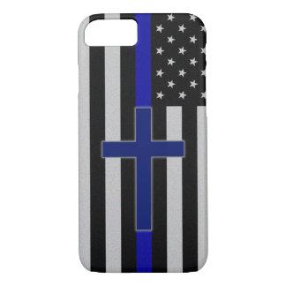 Blue Line mince croisent - la caisse croisée bleue Coque iPhone 7