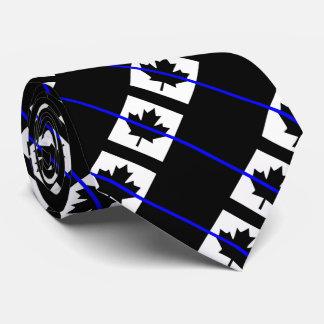 Blue Line mince sur le drapeau canadien Cravates