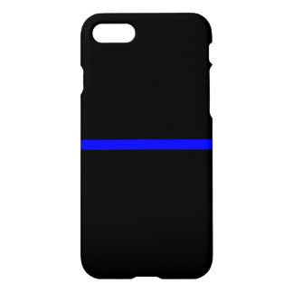 Blue Line mince symbolique sur le noir solide Coque iPhone 7