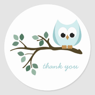 Blue Owl Thank You Stickers