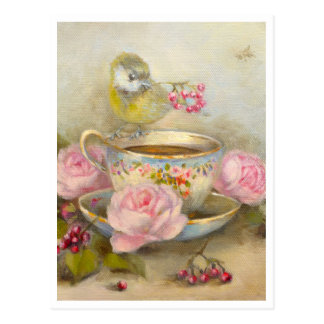 Blue-Tit, roses and Sevres tea cup ✿ Atelier Flont Cartes Postales