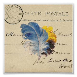 Blue Yellow Feather French Postcard Art Print Poster