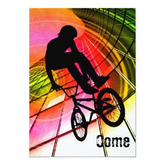 BMX dans les lignes et les cercles Carton D'invitation 12,7 Cm X 17,78 Cm