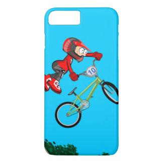 BMX enfant de l'équipement rouge en faisant une Coque iPhone 7 Plus